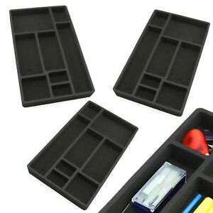 3 Desk Drawer Organizers Insert Black Home Or Office 8 Slot 19 9 X 12 1 New