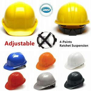 Hi Vis Ansi Hard Hat Cap 4 Pts Ratchet Suspension Construction Safety Helmet Lot