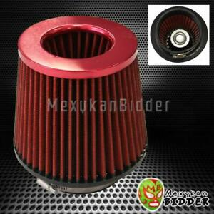 4 Inlet Red Short Ram Cold Intake High Flow Mesh Cone Air Filter Fit Universal