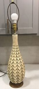 Vintage Mid Century Tall Ceramic Carved White Table Lamp 20 High Works 1960 S