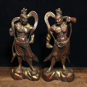 7 Chinese Old Pair Antique Bronze Gilt Heng And Ha Marshals Statue