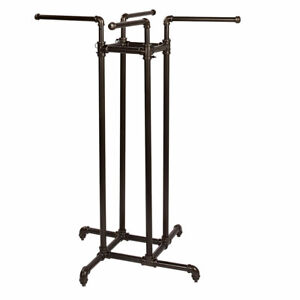 Heavy Duty Pipe 4 way Clothing Rack Straight Arms