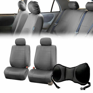 Pu Leather Front Bucket Pair Gray For Auto With Seat Back Cushion Pad Black