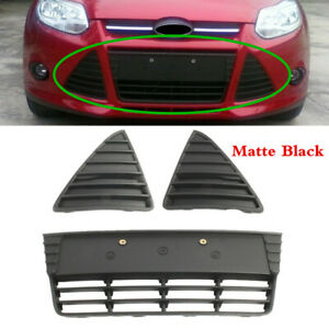 Fit For Ford Focus 2012 2014 Front Bumper Grille Cover Set Of 3 Grill Panel Mesh