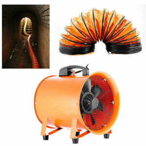 8 Extractor Fan Blower Portable W 5m Duct Hose Axial Motor Exhaust Pivoting