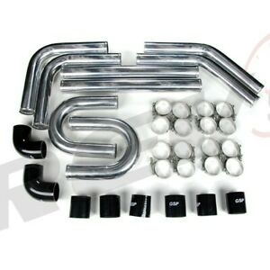 Rev9 Universal 3 Intercooler Piping Kit Aluminum W Black Coupler 3 Pipes