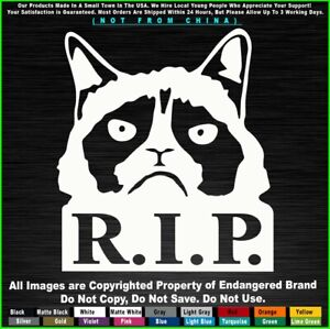 Funny Angry Grumpy Cat R i p Sticker Decal