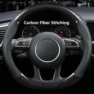 1pcs Carbon Fiber Stitching Leather Steering Wheel Cover Non Slip 15 Inch 38cm