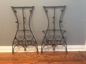 Vintage Industrial Cast Iron White Sewing Machine Base Table Legs Industrial