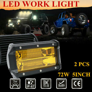 2x Tri Row 5 72w Led Work Light Bar Car Offroad Amber Driving Fog Lamp Spot Suv