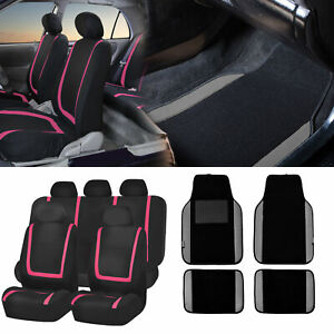 Black Pink Car Seat Covers With Gray Carpet Floor Mats For Auto Car Suv