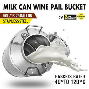 13 25 Gal Stainless Steel Milk Pail Liquid Beer Wine Storage Rice Bucket Can New