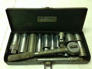 19 Piece S K 3 8 Drive Socket Set In Metal Box 3 8 To 13 16 Vintage