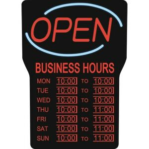 Led Open Sign W Business Hours