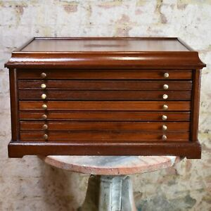 Vintage Wooden Coin Collectors Cabinet Bank Of Drawers Haberdashery