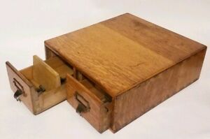 Oak Library Index Card Catalog File Cabinet 2 Drawer Office Chest Antique Wood