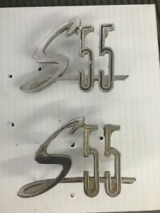 1963 1964 Mercury Monterey Marauder S55 Rear Quarter Emblem Pair Lf Rf Chrome