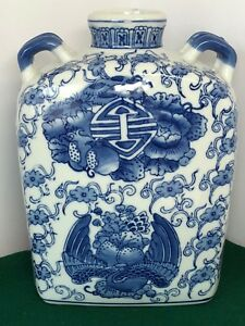 Antique Rare Rectangular Chinese Blue And White Porcelain Vase Jar 10 Tall