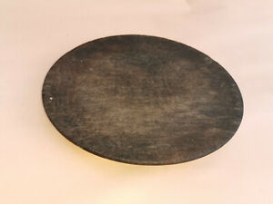 Old Antique Primitive Wooden Bowl Round Plate Dark Patina