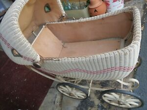Antique Wicker Baby Stroller Carriage Buggy