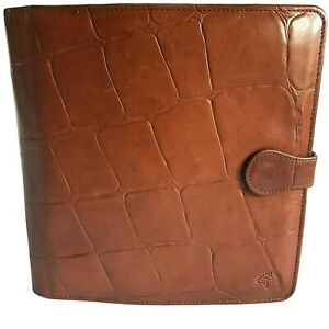 Mulberry Organiser For Pda phone card pen notepad Holder Brown Congo Leather