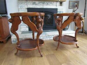 Antique Pair Of Inlaid Figural Dragonfly Lamp Tables French Galle Design