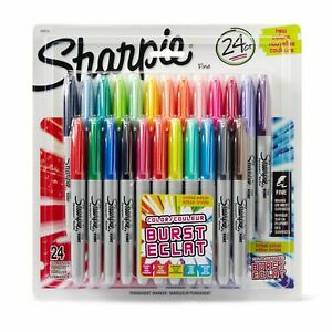 Sharpie Color Burst Permanent Markers Fine Point Assorted Colors 2 Packs Of 24