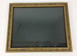 Wood Art Deco Picture Vintage Frame 9 5 X 7 5 Gold Carved Pressed With Glass