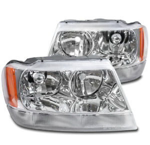 For 1999 2004 Jeep Grand Cherokee Laredo Chrome Replacement Headlights Lamp New
