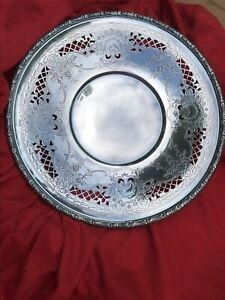 Pierced Wallace Silver Plate On Copper 10 Plate Platter N6540 Excellent