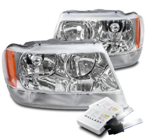 For 1999 2004 Jeep Grand Cherokee Chrome Replacement Headlights Lamps 8000k Hid