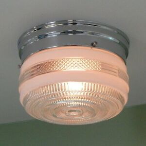 Flush Mount Utility Ceiling Light Vintage Glass Shade New Fixture