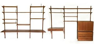 Mid Century Modern Danish Poul Cadovius System Cado 7 Bay Wall Unit Shelving