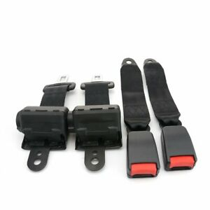 2 Kits Retractable Seat Belt Strap Lap 2 Point Harness Buckle Clip Safety Belt