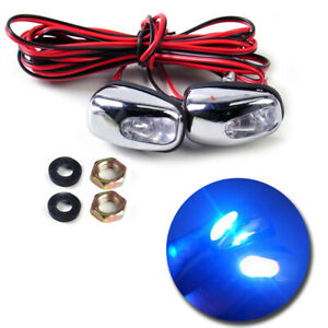 2pcs Universal Blue Led Light Windshield Washer Wiper Water Jet Spray Nozzle