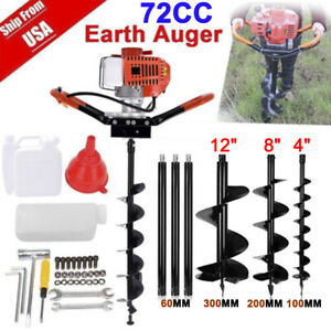 72cc 4hp Gas Powered Post Hole Digger W 3 Auger Bits 4 8 12 Power Engine Ft