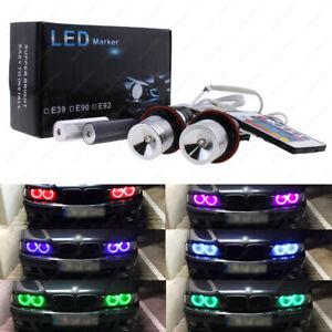 Rgb H8 Led Angel Eye Light Ir Remote Halo Ring For Bmw E60 E63 E82 E88 E90 E67