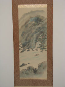 Japanese Hand Painted Hanging Scroll River Scenery