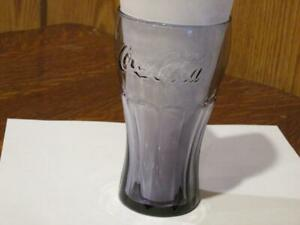 COCA-COLA DRINKING GLASS FLAIR TOP RIBBED BOTTOM PURPLE LARGE 16 OZ
