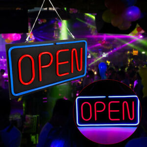 Neon Open Sign 24x12 Inch Led Light 30w Horizontal Wall Shops Dormitory Rooms Us