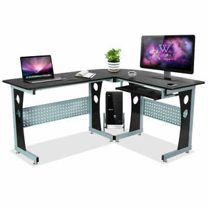 L shape Corner Computer Desk Wood Pc Table Workstation Home Office Black New