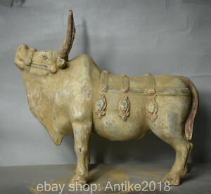 15 6 Old Chinese Tang San Cai Porcelain Pottery Strong Cattle Bull Ox Sculpture