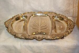 Vintage International Silver Company Orleans Silverplate Footed Meat Tray