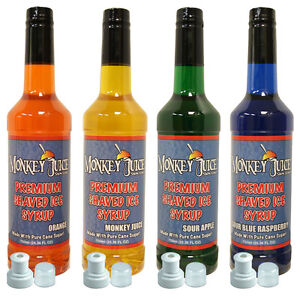 4 Bottles Of Snow Cone Syrup Made With Pure Cane Sugar