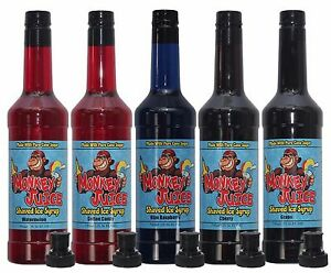 You Choose Flavors 5 Bottles Of Snow Cone Syrup Made With Pure Cane Sugar