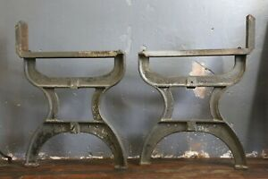 Vintage Industrial Machine Legs Cast Iron Bench Dining Table Desk Workbench