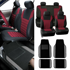 Seat Covers For Car Suv Van Burgundy W Gray Leather Trim Floor Mats