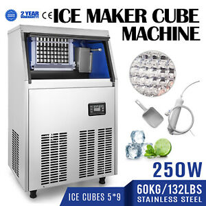 60kg 132lbs Commercial Bar Ice Maker Cube Machine Stainless Steel 335w