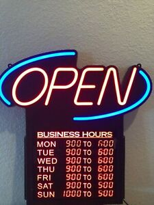 Led Light Up Lighting Open Store Retail Restaurant Bar Sign Business Hours
