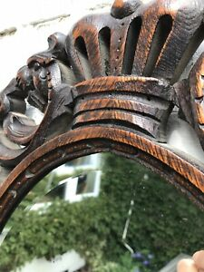 Victorian Gothic Carved Oak Framed Wall Hanging Decorative Mirror Scratches